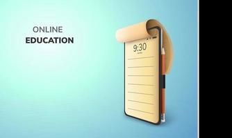 digitale lezing online onderwijs lege ruimte op telefoon mobiele website achtergrond sociale afstand concept vector