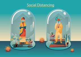 sociale afstand houden, mensen houden afstand en vermijden fysiek contact, handdruk of handaanraking om te beschermen tegen covid-19 coronavirus verspreidingsconcept, mensen gebruiken de indiase groet van namaste vector