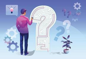 concept van bedrijfsoplossing zakenlieden zijn van plan het doolhofspelprobleem op te lossen. de metafoor gaat over het omgaan met zakelijke en marketingproblemen. denkstrategieën die problemen kunnen oplossen. vector