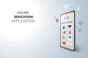 digitale toepassingen online onderwijs internet en lege ruimte op telefoon, mobiele website achtergrond sociaal afstandsconcept