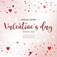 Valentijnsdag verkoop achtergrond met hart pictogrammen. kan worden gebruikt voor behang, flyers, uitnodiging, posters, brochure, banners. vector