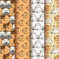 set van schattige patronen met gelukkige kat. inzameling van inpakpapier en cadeauzakjes. vector afbeelding achtergrond