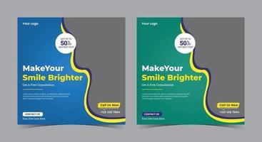 maak je glimlach helderder poster, tandheelkundige social media post en flyer
