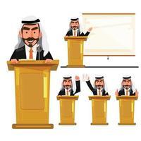 islamitische man op het podium politicus in acties vector