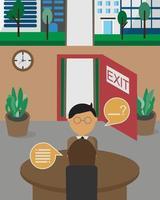 exit-interview voordat u de bedrijfsvector verlaat vector