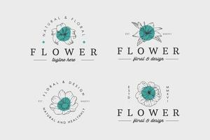 set van fower logo vector