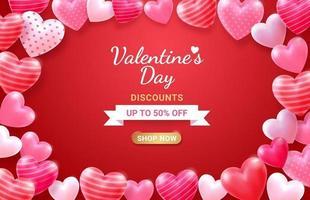 Valentijnsdag kaart met hart 3d en lint achtergrond.