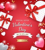 geschenkdoos met rood lint en 3D-hart. Valentijnsdag kaart achtergrond. vector