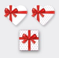 hartvormige geschenkdoos met lint. vector illustraties.