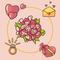 verzameling illustratie-elementen van huwelijksaanzoek, boeketten, ringen, liefdesbrieven en chocolaatjes vector