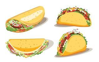 taco en burrito, fast food met saus, mexicaans traditioneel eten, geïsoleerde vectorillustratie vector