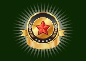 gouden metalen schilden en rode sterren voor uw merksjablonen.