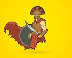 Spartaanse krijger met zwaard en schild