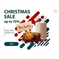 korting verschijnt voor website met abstracte vormen in rode en groene kleuren en koekjes met een glas melk voor de kerstman vector