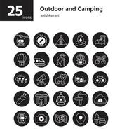 outdoor en camping solide pictogram sel. vector en illustratie.