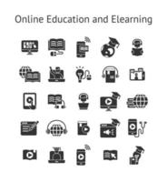 online onderwijs en e-learning solide pictogramserie.