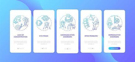 schermverslavingssymptomen onboarding mobiele app-paginascherm met concepten vector