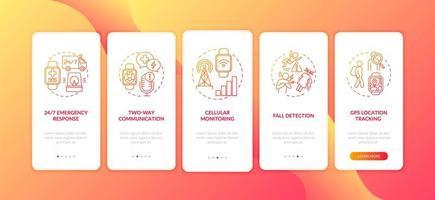 gezondheidsmonitoring smartwatch-opties onboarding mobiele app-paginascherm met concepten