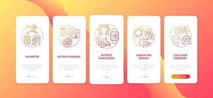 smartwatch-functies onboarding mobiele app-paginascherm met concepten vector