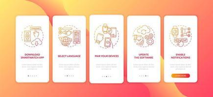 smartwatch setup adviezen onboarding mobiele app pagina scherm met concepten