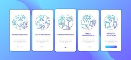 veranderende geslachtsrollen onboarding mobiele app-paginascherm met concepten vector