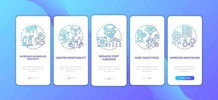 voordelen van het genderdiversiteitsbeleid door het onboarding van het paginascherm van de mobiele app met concepten vector