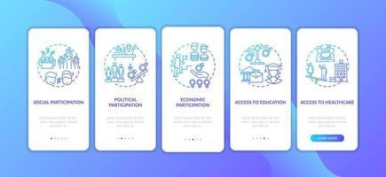 genderkloofcriteria onboarding mobiele app-paginascherm met concepten vector