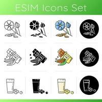Groenen verscheidenheid iconen set.