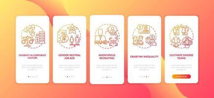 implementatietips voor genderdiversiteit onboarding van het paginascherm van mobiele apps met concepten vector