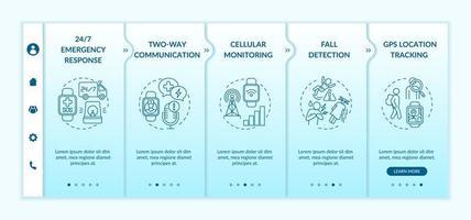 smartwatch gezondheidszorg functies onboarding vector sjabloon