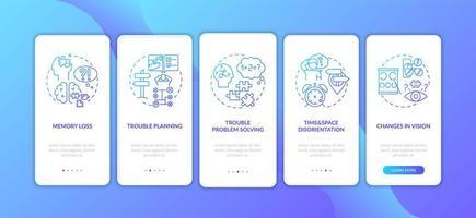 vroege tekenen van dementie blauwe gradiënt onboarding mobiele app-paginascherm met concepten vector