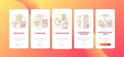 ouderlijk toezicht elementen onboarding mobiele app pagina scherm met concepten vector