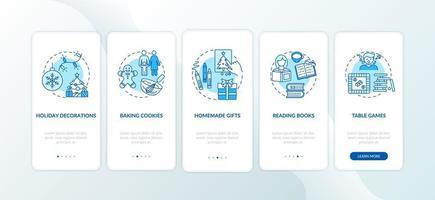 kerstvakantie-ideeën onboarding mobiele app-paginascherm met concepten