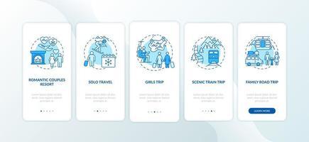 wintervakantie-ideeën onboarding mobiele app-paginascherm met concepten