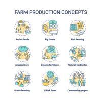 boerderij productie concept pictogrammen instellen vector