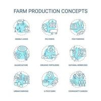 boerderij productie concept pictogrammen instellen
