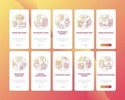 schermverslaving verminderen onboarding mobiele app-paginascherm met ingestelde concepten vector