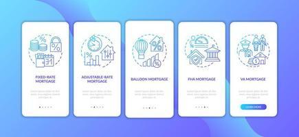 hypotheektypen onboarding mobiele app-paginascherm met concepten vector