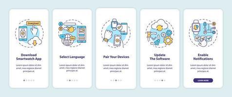 smart watch setup tips onboarding mobiele app pagina scherm met concepten