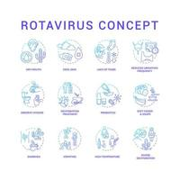 rotavirus blauwe concept pictogrammen instellen. droge mond. koele huid. neem hygiëne in acht. handen wassen. virusinfectie symptomen idee dunne lijn rgb-kleurenillustraties. vector geïsoleerde overzichtstekeningen