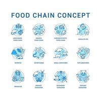 voedselketen concept pictogrammen instellen. primaire, secundaire en tertiaire verbruikers. top carnivoren. levenscyclus idee dunne lijn rgb kleurenillustraties. vector geïsoleerde overzichtstekeningen. bewerkbare streek