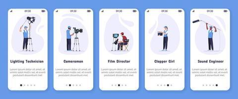 filmproductie onboarding mobiele app schermvector sjabloon