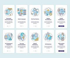 slimme horloge installatietips onboarding mobiele app-paginascherm met ingestelde concepten