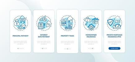 hypotheekbetalingselementen onboarding mobiele app-paginascherm met concepten