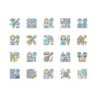 muzikale genres RGB-kleur iconen set vector
