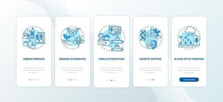 landbouwinnovatie onboarding mobiele app-paginascherm met concepten