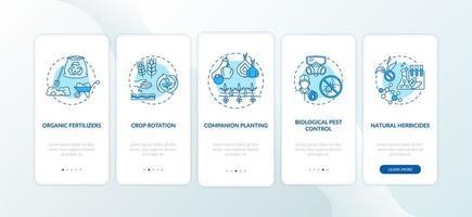 biologische landbouwprincipes onboarding mobiele app-paginascherm met concepten