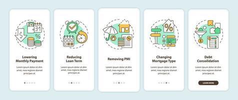 hypotheekherfinancieringsvoordelen onboarding mobiele app-paginascherm met concepten