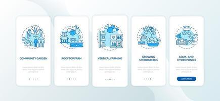stadslandbouw onboarding mobiel app-paginascherm met concepten
