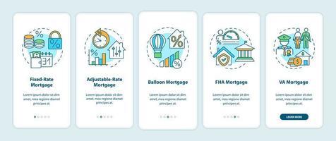 hypotheektypen onboarding mobiele app-paginascherm met concepten